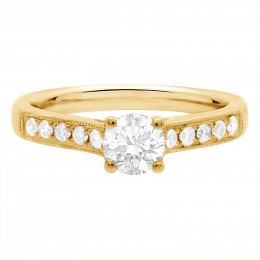 Milgrain Engagement Ring Yellow Gold