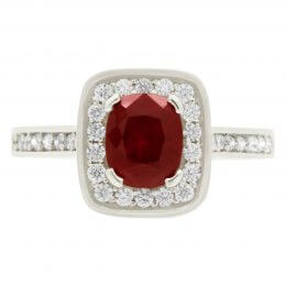 Ruby and diamond engagement ring front view