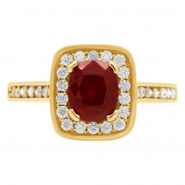 Ruby Diamond Ring - Vivian Yellow gold 1