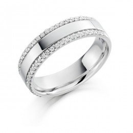 Double Micro Claw Set Wedding Ring