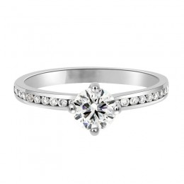 compass set diamond engagement ring