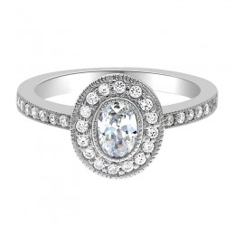 milgrain oval engagement ring