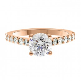 Solitaire With Diamond Band rose gold (katy 1)