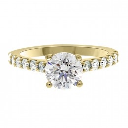 Solitaire With Diamond Band yellow gold (katy 1)