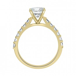 Solitaire With Diamond Band yellow gold (katy 2)