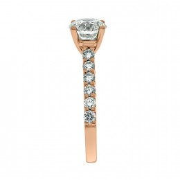 Solitaire With Diamond Band rose gold (katy 3)