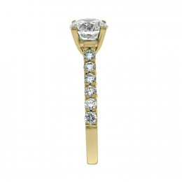 Solitaire With Diamond Band yellow gold (katy 3)