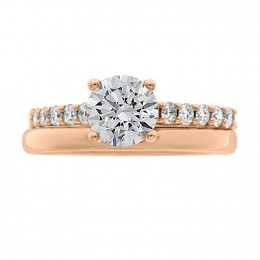 Solitaire With Diamond Band rose gold (katy 4)