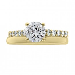 Solitaire With Diamond Band yellow gold (katy 4)