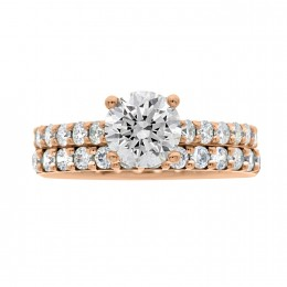 Solitaire With Diamond Band rose gold (katy 5)