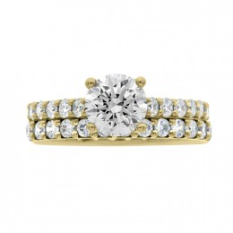 Solitaire With Diamond Band yellow gold (katy 5)