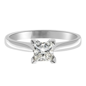 Grace engagement ring with corner setting