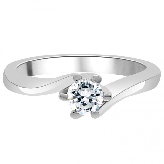 Lillian - .55 carat six claw round brilliant cut engagement ring with a twisted shank