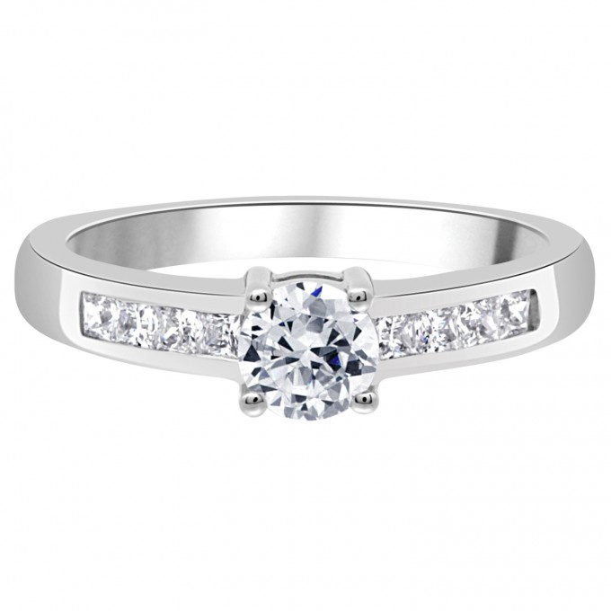 Avril - Round Diamond with Channel Set Princess Cut