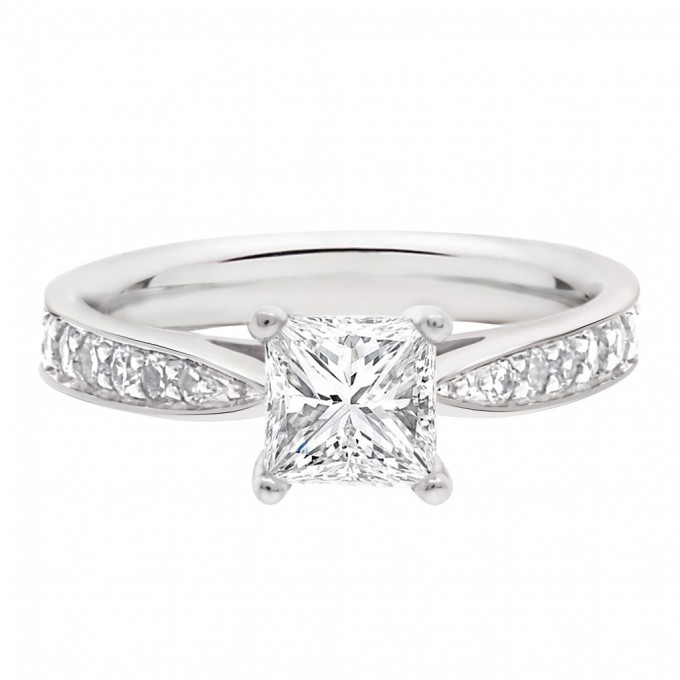 Polly (Princess)  - Princess Cut Diamond Solitaire With Tapered Diamond Shoulders