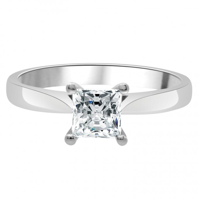 Samantha - .70 carat compass set engagement ring with a twisted shank
