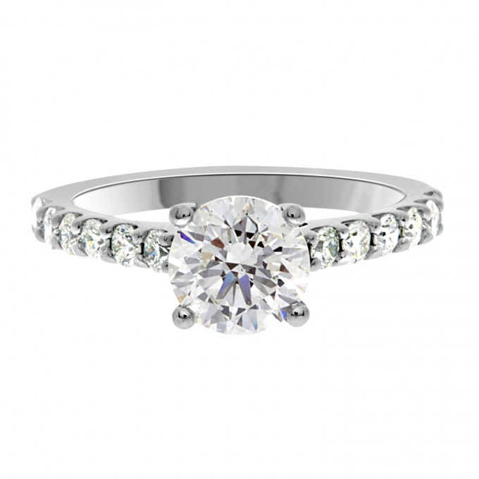 Katy - Solitaire With Diamond Band Engagement Ring